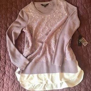 Vera Wang NWT lavender sweater with white blouse